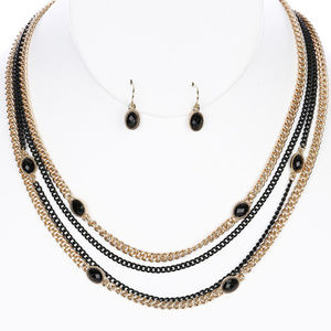 Jewelry - Multi-Layer Black Gemstone Necklace Set